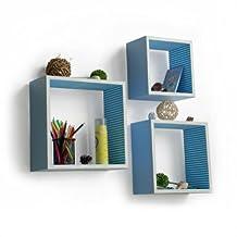 Trista - [Powder Blue] Square Leather Wall Shelf / Bookshelf / Floating Shelf (Set of 3)