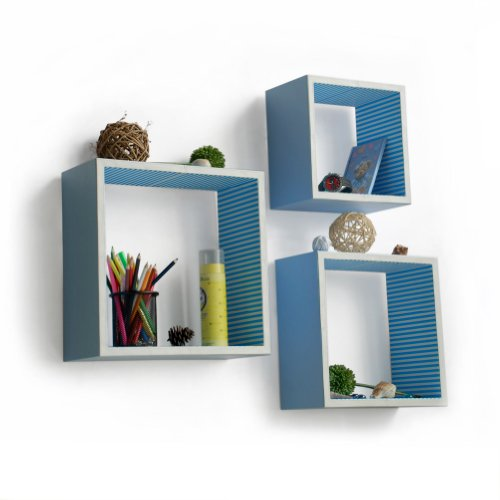 Trista - [Powder Blue] Square Leather Wall Shelf / Bookshelf / Floating Shelf (Set of 3)