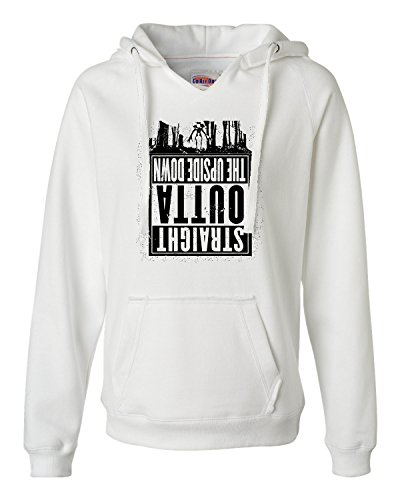 Go All Out Screenprinting Small White Womens Straight Outta The Upside Down Deluxe Soft Hoodie (Down Womens Hoodie)