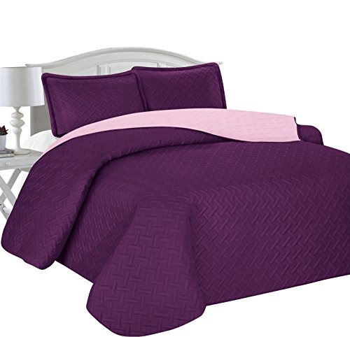Home Sweet Home Victoria Design Reversible 3 PC Quilt Bedspread Sets (Full/Queen, Purple/Lavender)