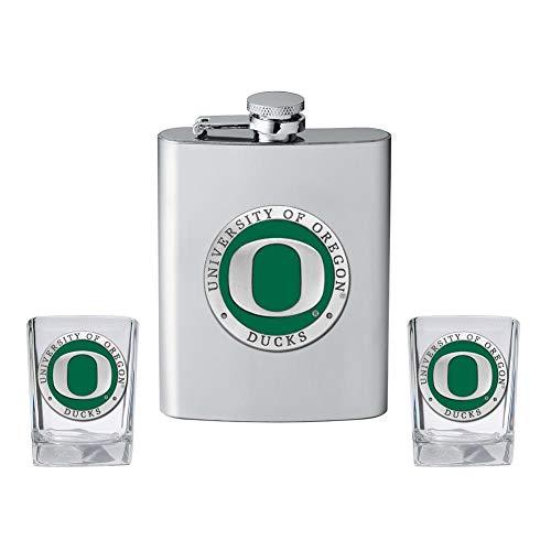Heritage Metalwork University of Oregon Ducks Flask and 2 Shot Glass Set Liquor Flask