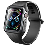 Clayco Apple Watch 4 Band 44mm 2018, [Hera Series] Shock Resistant Ultra Slim Protective Bumper Case with Strap Bands for 44mm Apple Watch Series 4 (Black)
