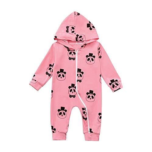 Newborn Pajamas PJS Baby Panda Pattern Zip Playsuit for Boys Girls Kids Outfit -