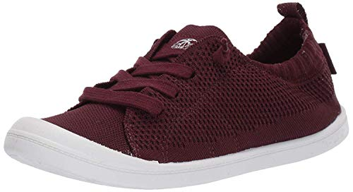 Roxy Women's Bayshore Knit Slip On Sneaker Shoe, Dark red, 10 M US (Canvases Red)