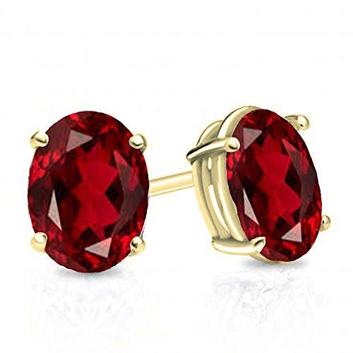 10K Yellow Gold 6x4 mm each Oval Cut Garnet Ladies Solitaire Stud Earrings