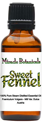 Miracle Botanicals Sweet Fennel Essential Oil - 100% Pure Vulgare Mill Var Dulce - Therapeutic Grade 30ml/1oz.