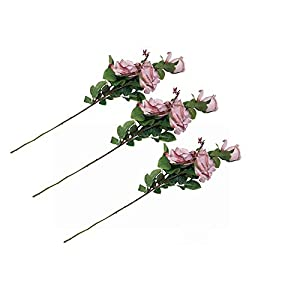 MARJON FlowersArtificial Flowers Fake Flower 3 Spray 9 Head Rose Bouquet Decor UK Stock (A303-Dusty Pink) 40