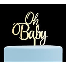 Oh Baby Cake Topper, Baby Shower, Gender Reveal Party Decorations - Gold