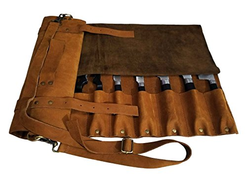 Lightweight Genuine Premium Vintage Tan Leather Professional Chef Knife Bag/Chef Knife Roll with Buckles 10 Slots Space by luvsecretlingerie