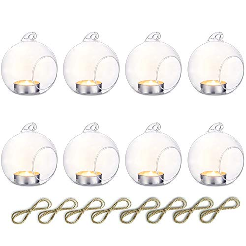 Nuptio Pcs of 8 Hanging Glass Terrarium Air Plant Candle Holders Home Wedding Party Centerpieces Decor Indoor Outdoor Air Plant Terrariums (Hanging Small Tealight Holders)