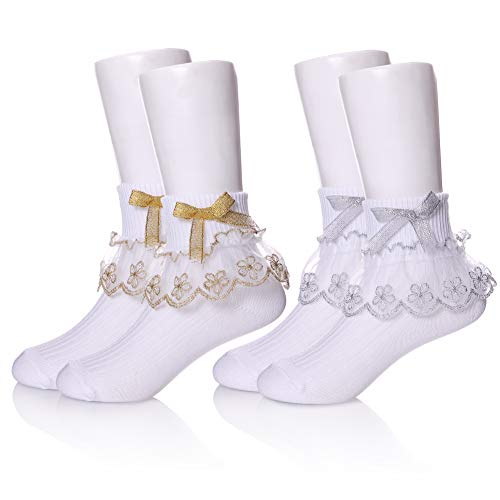 (YEBING Girls Ruffle Lack Socks 2 Pair Pretty Girls Princess Dress Socks with Lace and Ribbon (3-5 Year Old, 2 Pack Bow Gold &)