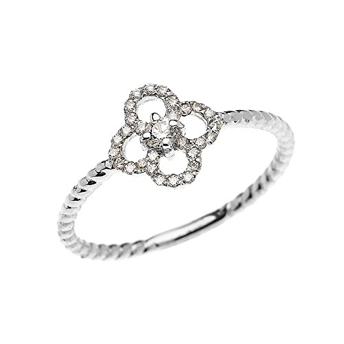 14k White Gold Dainty Diamond Four Leaf Clover Good Luck Rope Design (Leaf Design Diamond)