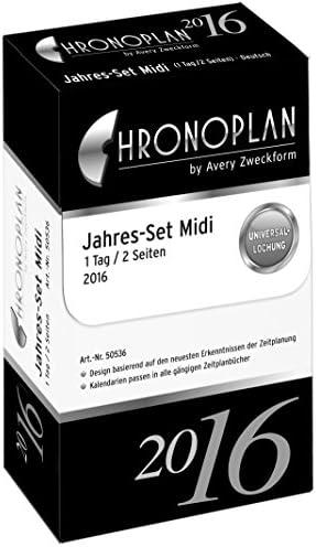 Chronoplan 50536 Kalendarium Jahres-Set Midi, 1 Tag/1 Seite, 2016, 1 Stück, weiß