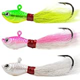 K&S Bucktails A Pack of (3) 1 Ounce Fishing Lures Made with a Super Sharp Premium Hook with bulging Eyes Holographic finishes Blazing Color Will Catch fluke, stripers, Weakfish, Bluefish etc.