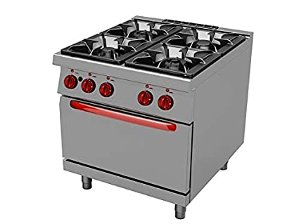 Cocina gas profesional 4 fuegos con horno linea 900 TECNOFOOD TG0234