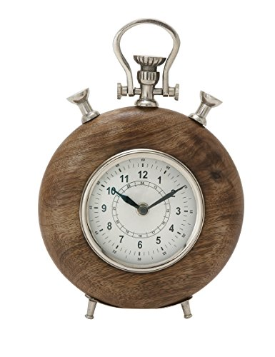 "Deco 79 40698 Wood Metal Table Clock, 7"" W x 10"" H - Color: brown, silver Finish: matte Material: metal, Wood - clocks, bedroom-decor, bedroom - 41DYg7Ar%2B2L -"