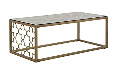 Amazon.com: Quatrefoil Goldtone Metal And Glass Coffee Table: Kitchen U0026  Dining