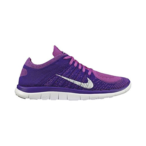 Nike Free 4.0 Flyknit Women's Running Shoes, 6, CLUB PINK/WHITE-COURT PURPLE-BRGHT C