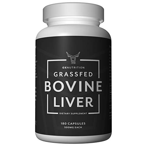 OXNUTRITION Grassfed Beef Liver Capsules (Desiccated) | Organic Iron Supplement | High in B12 for Energy | Thyroid and Adrenal Support | Superfood Packed with Many Vitamins and Nutrients | 180 Caps.