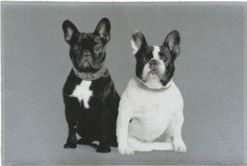 Waschbare Fußmatte - Französische Bulldogge ca 50x75 50x75 50x75 cm Fußabstreifer für die Küche und den Innenbereich mit lustigem Hunde Motiv B00E8SI4TE Fumatten bfea31