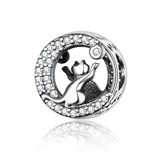 BAMOER Twinkle Moon Meow Cat 925 Sterling Silver Charm Lucky Kitty Bead Charms for Bangle Bracelet Women Birthday Gift