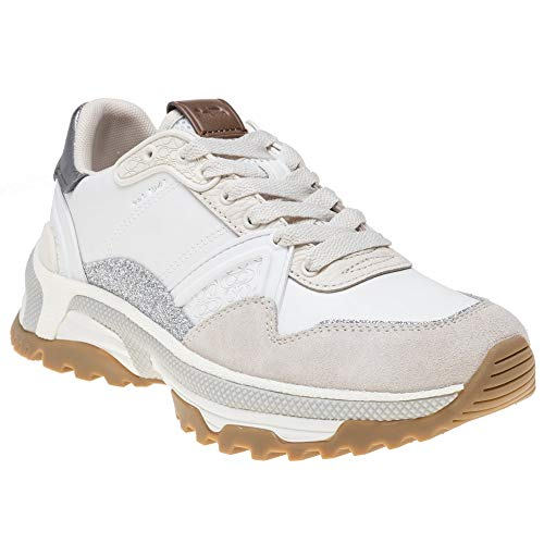 Coach Women's C143 Runner with Glitter White/Chalk Leather/Suede 7 M US ()