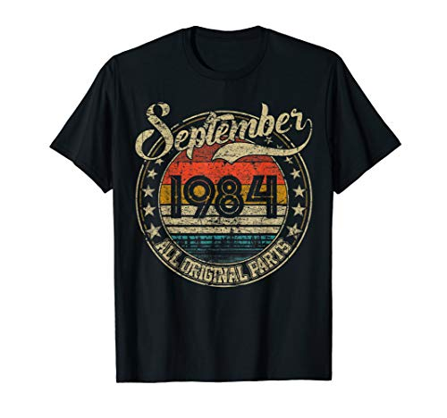 Vintage September 1984 Shirt 35 Years Old 1984 Birthday Gift T-Shirt (Best Birthday Gifts For 35 Year Old Man)