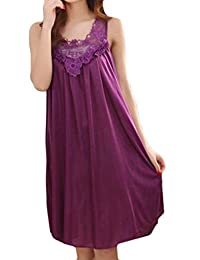 Cruiize Womens Sleeveless Satin Plus Size Lace Hollow Pleated Nightgown