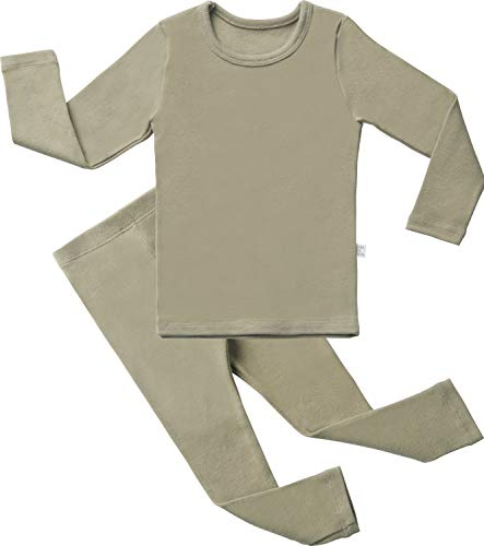 AVAUMA Baby Boys Girls Solid Pring Pj Set Kids Pajamas Long Sleeve Cotton (L-Khaki X-Small(75)/6-12Months)