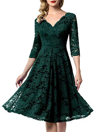 AONOUR 0056 Women's Vintage Floral Lace Bridesmaid Dress 3/4 Sleeve Wedding Party Midi Dress Dark Green XL