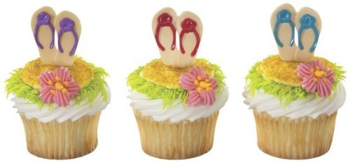 Party Cupcake Pics - SANDALS Flip Flops LUAU Tropical Hawaiian Beach Party (12) Cupcake PICS Picks