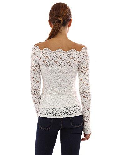della fuori Donne PattyBoutik parte pizzo superiore spalla Bianco floreale qTvqx7Yw1