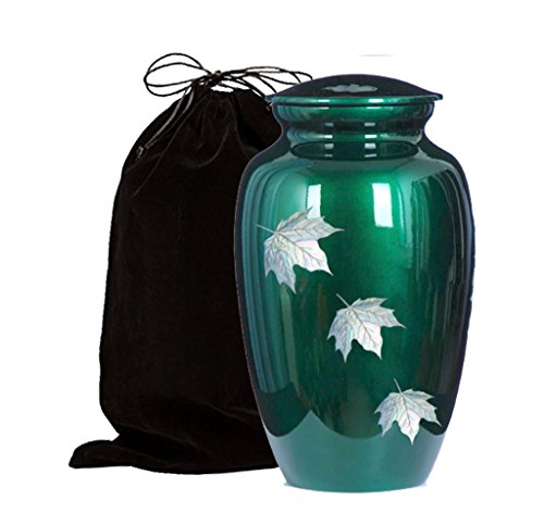 Mother of Pearl Inlaid Metal Cremation Urn - MOP Cremation Urn - Solid Metal Funeral Urn - Handcrafted Adult Funeral Urn for Ashes - Great Urn Deal with Free Bag (Green Falling Leaf)