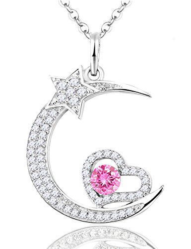Birthstone Pink Tourmaline Necklace Moon Heart Star Sterling Silver Pendant Jewelry Gifts for Women,18 2