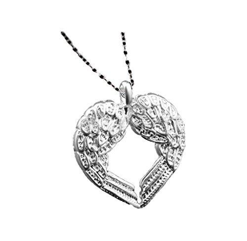 [Usstore 1PC Women Silver Diamond Angel Wing Heart Pendants Chain Necklace Sweater Chain Alloy Gift] (Angel Costume Tumblr)