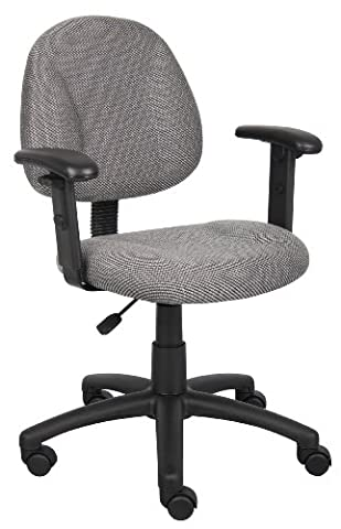 Boss Office Products B316-GY Perfect Posture Delux Fabric Task Chair with Adjustable Arms in Grey - Boss Office Desk