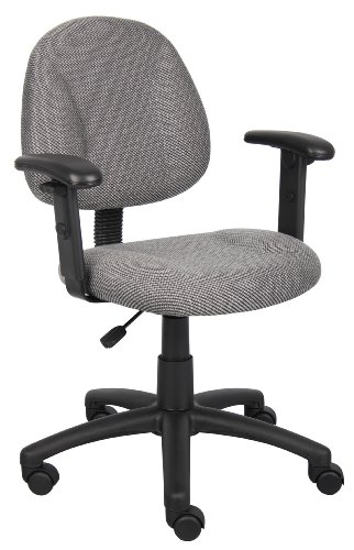 (Boss Office Products B316-GY Perfect Posture Delux Fabric Task Chair with Adjustable Arms in Grey)