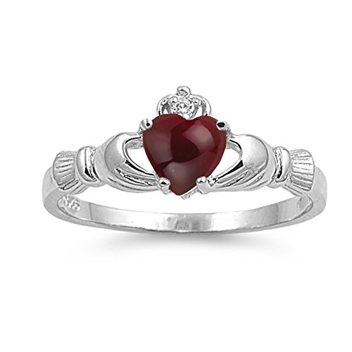 925 Sterling Silver Cabochon Natural Genuine Reddish Purple Garnet Claddagh Heart Promise Ring Size 3 ()