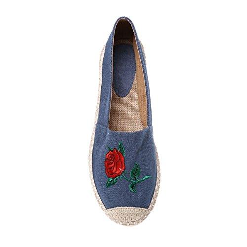 Espadrilles Modeuse Avec Brodées D'une Bleu Sa Rose La Tige En Jean 01d0qw
