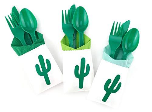 Cactus Party Cutlery - 24 Set Fiesta Birthday Parties Bachelorette Baby Shower Supplies -
