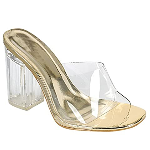 Women's Transparent Clear Ankle Strap Open Toe Chunky Perpex Heel (Gold Mule)