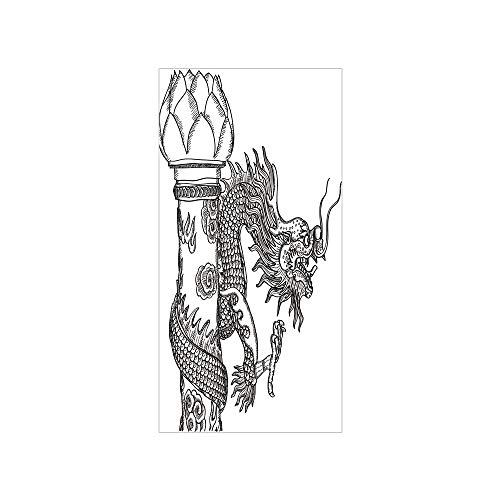 3D Decorative Film Privacy Window Film No Glue,Dragon,Chinese Style Sacred Creature Statue Sketch Medieval Monster Fantasy Tattoo Image Decorative,Black White,for -