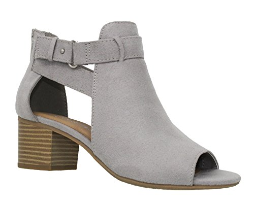 MVE Shoes Women's Open Toe Chunky Heel Back Zipper Sandal, Gry Size 10