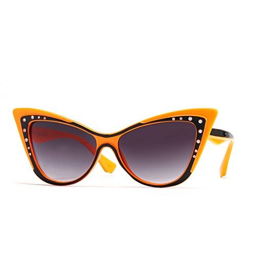 Cats Eye Rhinestone Sunglasses - Cat Eye Sharp Corner Rhinestone Vintage Sunglasses for Women (Orange-Black)