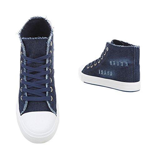 design Sport De Chaussures Fonc Italien R15 Bleu Sport Haut Femmes Lacets U6xq1n