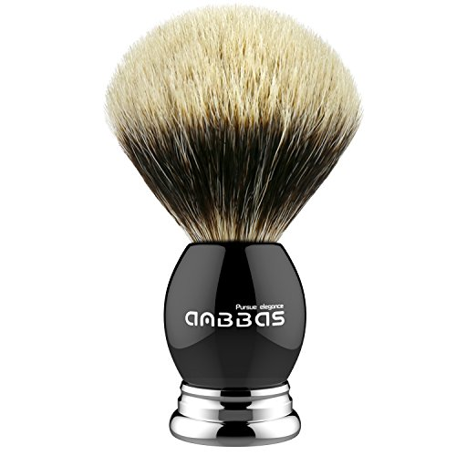 Anbbas Silvertip Badger Shaving Brush,Black Resin & Alloy Handle for Men Wet Shave,Pure Badger Hair,No Hair Shedding, No Terrible Smell