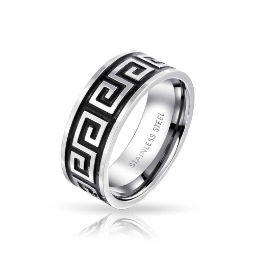 Bling Jewelry Mens Wide Greek Motif Key Style Design Band Oxidized Stainless Steel Ring