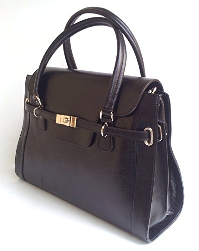 Twist Vinta Italy Genuine Black In With Leather Women's bowling Handbag Lock Bag Superflybags Polished Model Made fanBApw8xq