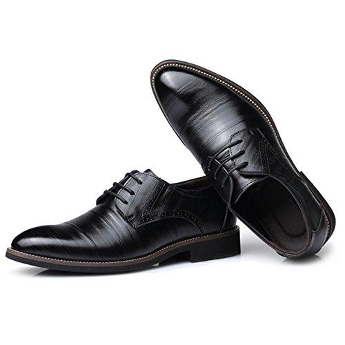 Hommes En Cuir Derby Formelle Affaires Bout Pointu Lace Up Uniforme Chaussures Classique Robe De Soirée Mariage Oxford Chaussures Black W0wHlgD2XE