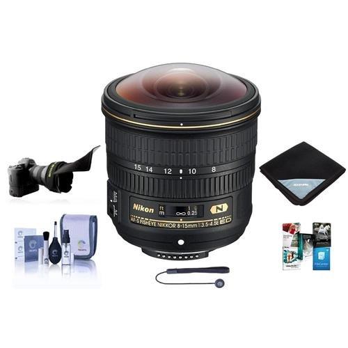 .5E EDIF AF-S Fisheye NIKKOR Lens U.S.A. Warranty - Bundle with Flex Lens Shade, Lens Wrap, Cleaning Kit, Capleash II, Software Package ()